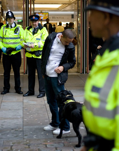 A sniffer dog at work. It gets a biscuit. You go to jail.