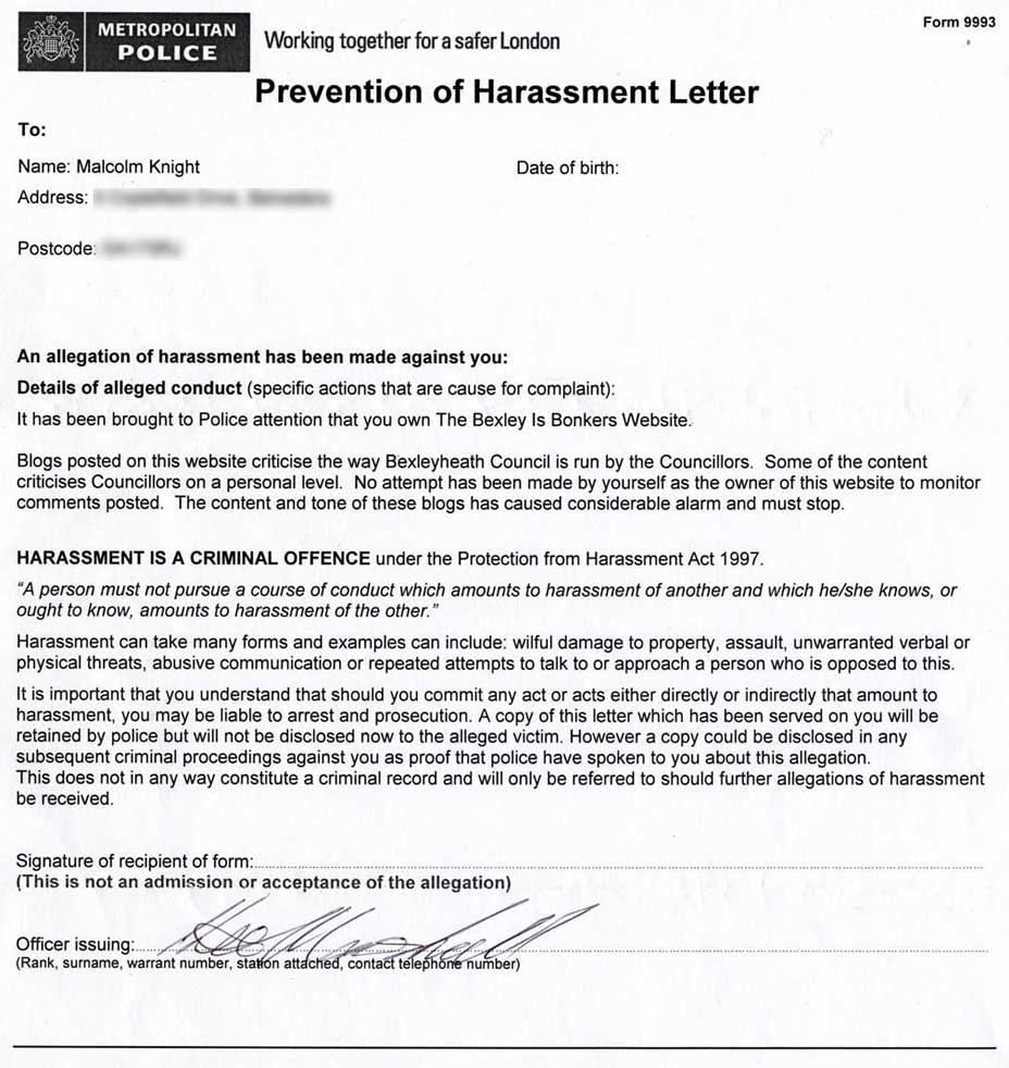 Harassment warnings how to challenge them crimebodge for Sexual harassment letter template