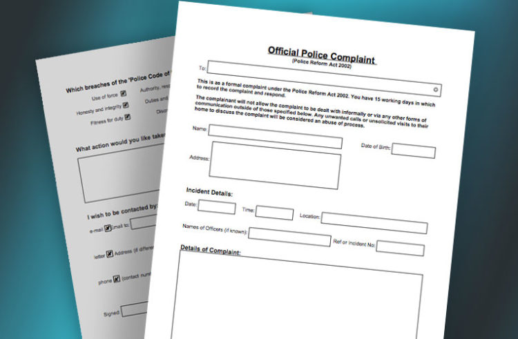 Police Complaints Form – (Just Click and Complete)